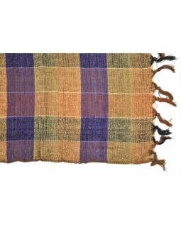 Šál protkáváním a lurexem, béžovo-fialový, viskóza, třásně, 46x180 cm