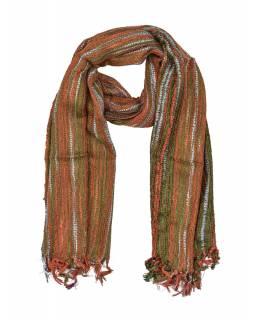 Šál s protkáváním a lurexem, oranžovo-zelený, viskóza, třásně, 49x176 cm