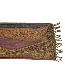 Luxusní vlněný šál, vínový, paisley vzor, třásně, 32x154cm