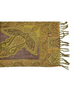 Luxusní vlněný šál, hnědý, paisley vzor, třásně, 32x152cm