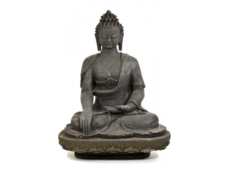 Keramická socha Buddha Šákjamuni, tmavá, 82cm