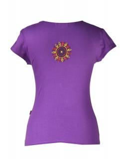 """Fialové tričko s krátkým rukávem """"Chakra"""" design a barevná výšivka"""
