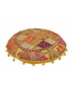 Meditační polštář, ručně vyšívaný Kutch Design, žlutý, kulatý, 75x15cm