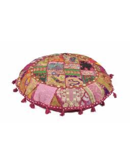 Meditační polštář, ručně vyšívaný Kutch Design, růžový, kulatý, 75x15cm