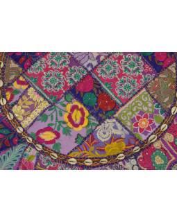 Meditační polštář, ručně vyšívaný Kutch Design, fialový, kulatý, 75x15cm