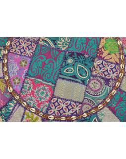 Meditační polštář, ručně vyšívaný Kutch Design, fialový, kulatý, 75x15cm (ZF)