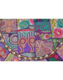 Meditační polštář, ručně vyšívaný Kutch Design, fialový, kulatý, 75x15cm (ZG)