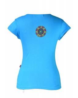 """Tyrkysové tričko s krátkým rukávem """"Chakra"""" design a barevná výšivka"""