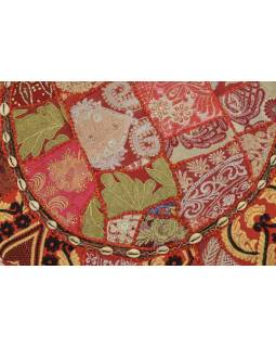 Meditační polštář, ručně vyšívaný Kutch Design, červený, kulatý, 75x15cm