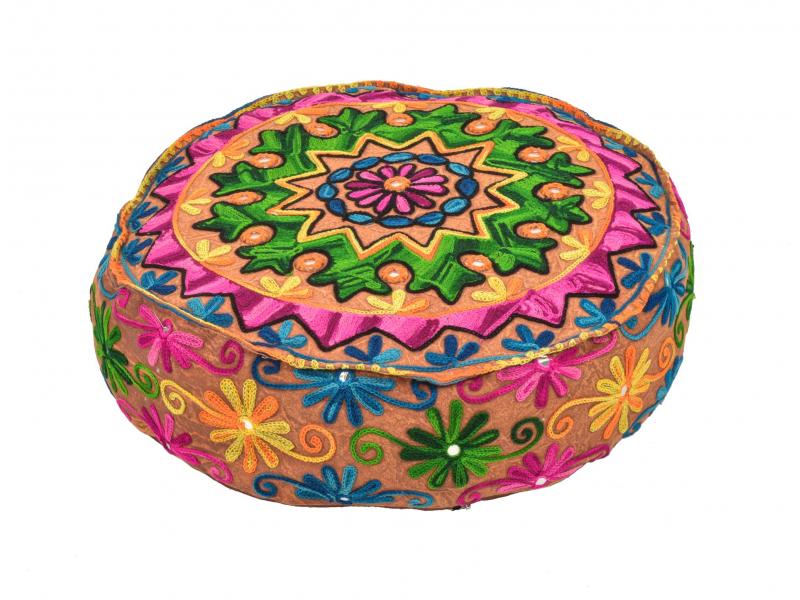 Meditační polštář, ručně vyšívaný Kashmir Floral Design, hnědý, kulatý 40x12cm