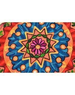 Meditační polštář, hnědý, ručně vyšívaný Kashmir Floral Design, kulatý 40x12cm