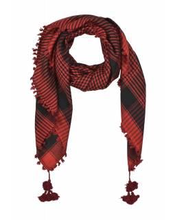 """Šátek, """"Palestina"""", viskóza, červeno-černý, třásně, cca 120*120cm"""