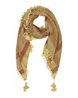 """Šátek, """"Palestina"""", viskóza, béžovo-hnědý, třásně, cca 120*120cm"""