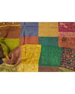 Hedvábný patchworkový šál s motivem, 180x50cm