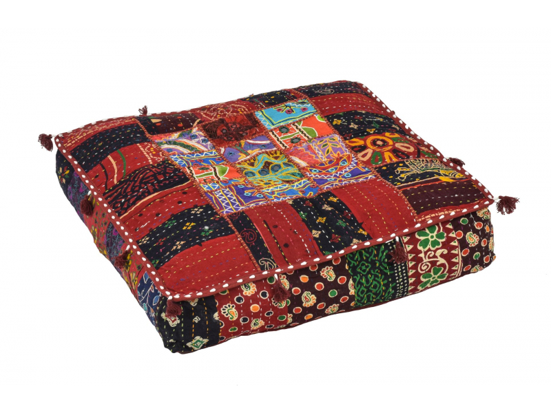 Meditační polštář, ručně vyšívaný patchwork, čtverec, 60x60x10cm