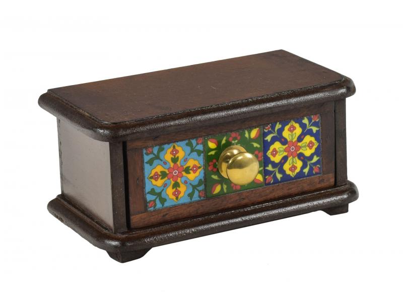 Dřevěná skříňka s šuplíkem, keramické dlaždice, kovové madlo, 21,5x11,5x10,5cm
