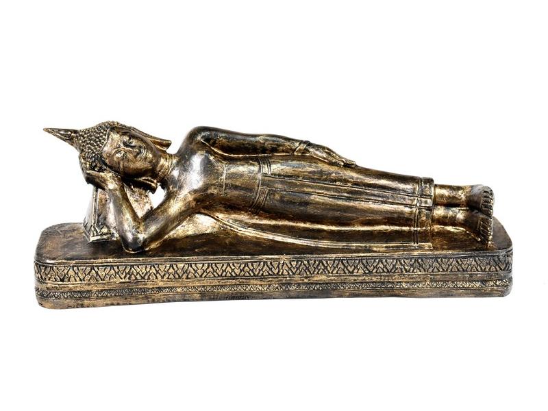 Narozeninový Buddha, úterý,  pryskyřice, zlatá patina, 50cm