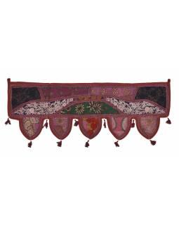 Závěs nad dveře, vínový, výšivka, třásně, lem, 104x36cm