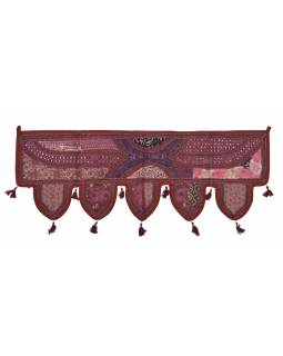 Závěs nad dveře, vínový, výšivka, třásničky, lem, 104x36cm