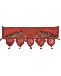 Závěs nad dveře, červený, výšivka, třásně, lem, 104x36cm