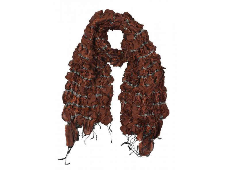 Šátek, hedvábí, prošívaný gumičkou-čtverce, třásně, hnědo-cihlový 20*160cm