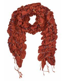 Šátek, hedvábí, prošívaný gumičkou-čtverce, třásně, cihlově červený 20*160cm
