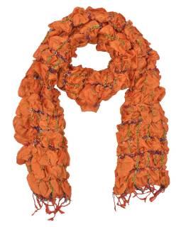 Šátek, hedvábí, prošívaný gumičkou-čtverce, třásně, oranžový 20*160cm