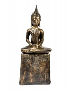 Narozeninový Buddha, čtvrtek,  pryskyřice, zlatá patina, 50cm