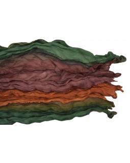 Šála, hedvábí, mačkaná úprava, vícebarevná batika, cca 50x170cm