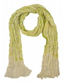 Šátek, hedvábí, mačkaná úprava, zeleno-krémová batika, 100x165