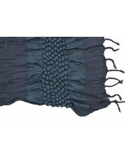 Šála, vytlačené bublinky, tmavě modrá, s lurexem, žabičkování, třásně, 30x160 cm