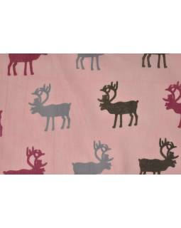Šátek s motivem jelenů, růžový, bavlněný, 175x70cm