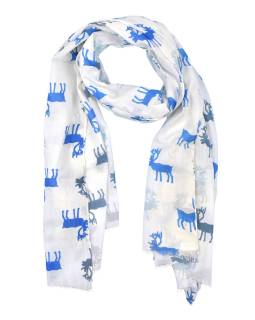 Šátek s motivem jelenů, bílý, bavlněný, 175x70cm