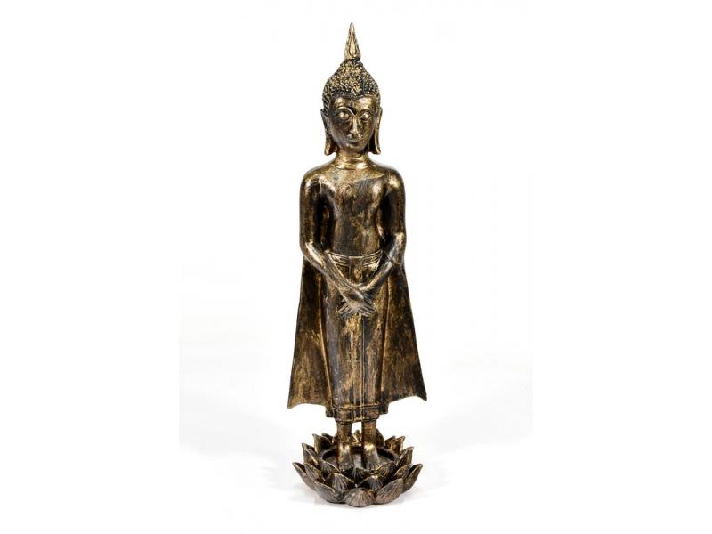 Narozeninový Buddha, neděle, pryskyřice, zlatá patina, 50cm