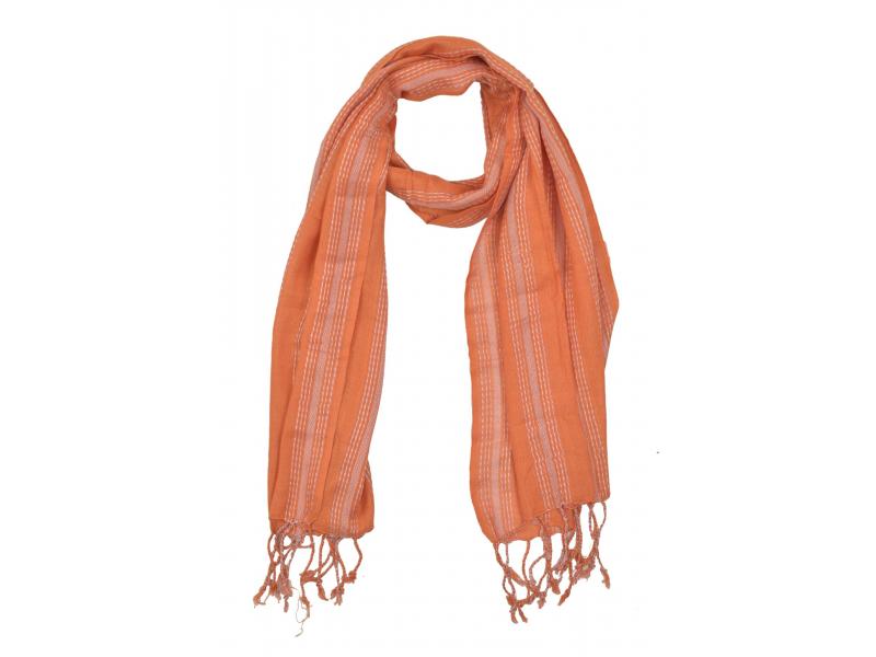 Šál s protkáváním, viskóza, oranžovo-béžový, třásně, 176x51cm