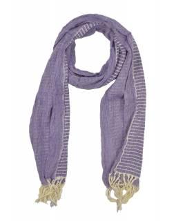 Šál, viskóza, fialovo-bílý, elastické žabičkování, 166*22 až 35 cm
