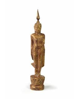 Narozeninový Buddha, pondělí, teak, hnědá patina, 23cm