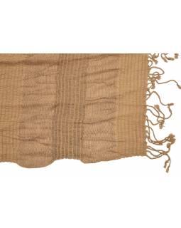 Šál, viskóza, světle hnědý, elastické žabičkování, 180*33 až 55 cm