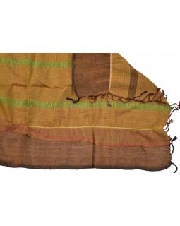 Šál, viskóza, hnědo-oranžový, elastické žabičkování, 164x48 cm