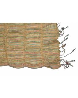 Šál, viskóza, barevný, lurex, elastický, třásně, 176*26 až 41cm