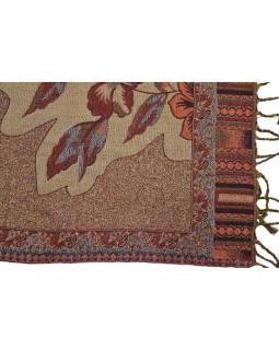 Luxusní šál, vínový, viskóza s vlnou, design květin, lurex, třásně, 206x73cm
