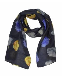 Hedvábný šál s motivem květin, tmavě modrý 180x35cm