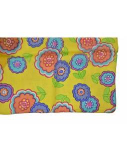 Hedvábný šál s motivem květin, žlutý 180x35cm