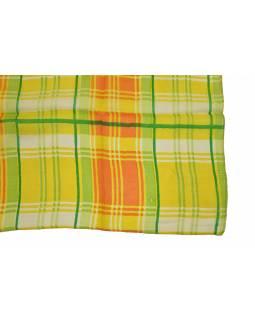 Hedvábný šál s motivem proužků, žlutý 180x35cm