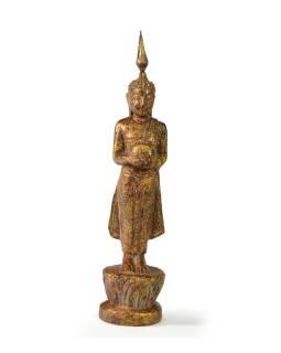 Narozeninový Buddha, středa, teak, hnědá patina, 23cm