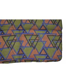 Hedvábný šál s motivem trojúhelníků, zeleno-hnědý 180x35cm