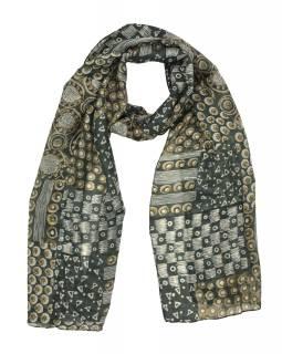 Hedvábný šál s drobným motivem, zeleno-šedý 180x35cm