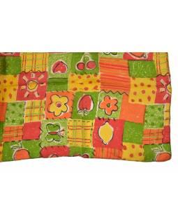 Hedvábný šál s motivem květin a ovoce, barevný 180x35cm