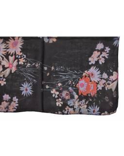 Šátek z hedvábí, čtverec, černý, potisk květin, 100x100cm