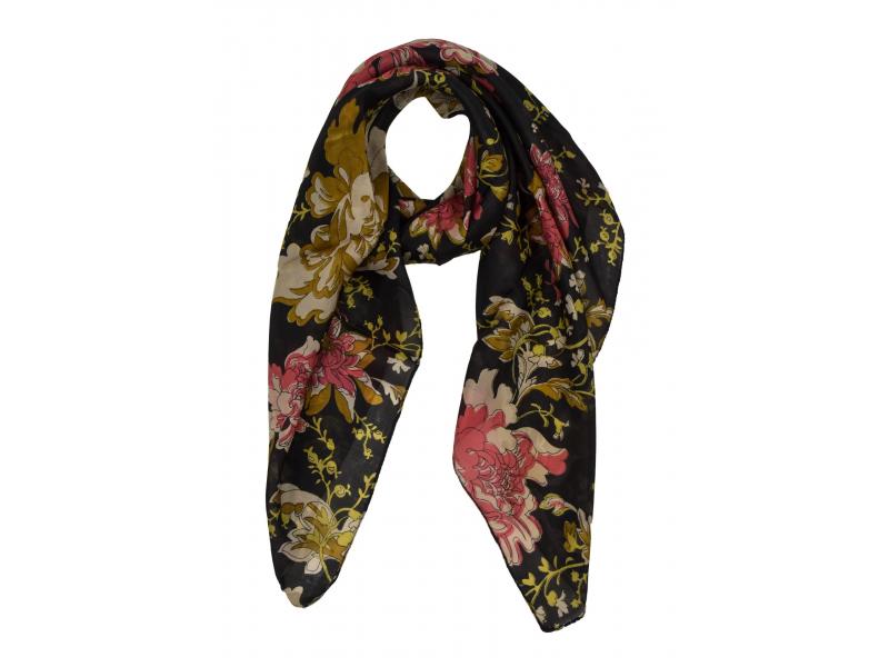 Šátek z hedvábí, čtverec, potisk květin, černý, 100x100cm